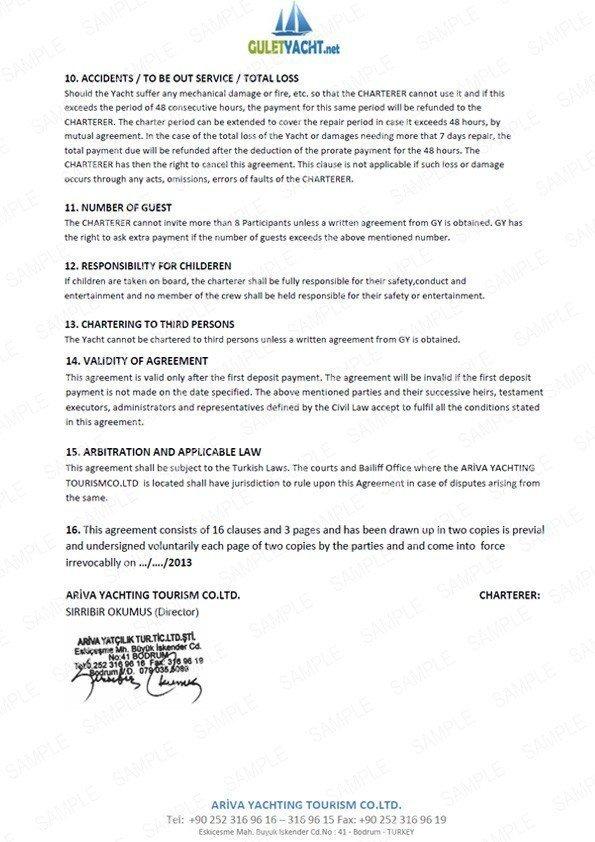 Yacht Charter Agreement Guletyacht